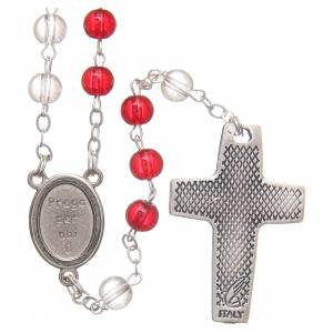 Devotional rosaries: Rosary beads with Jubilee of Mercy, red and white PVC 4mm