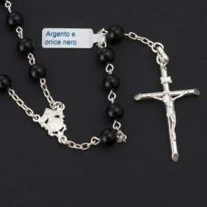 Rosary beads with Roman basilicas, Silver and onyx 6 mm s2