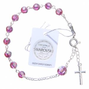 Rosary bracelet with pink Swarowski crystals 6mm s2