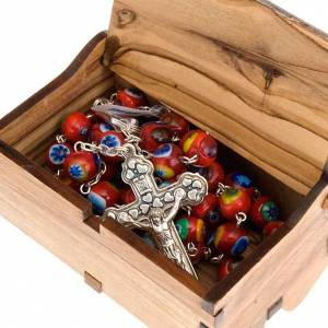 Rosary case in olive wood with Jerusalem landscape decoration s4