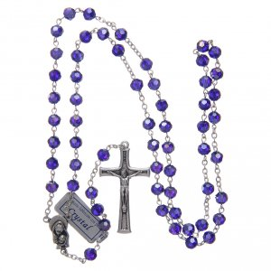 Rosary in blue crystal and oxidised metal s4