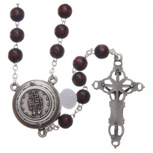Rosary in burgundy wood with talking center piece Pope Francis prayer spanish 8 mm s2