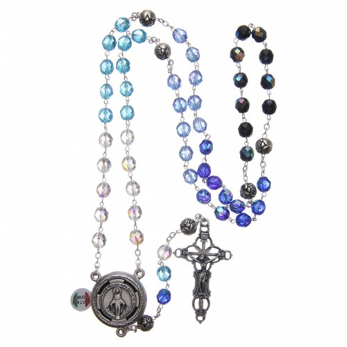 Rosary in crystal with blue shade, talking center piece ITALIAN 8 mm s4