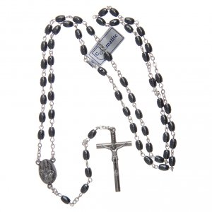 Rosary in hematite stone with silver cross and oval grains s4