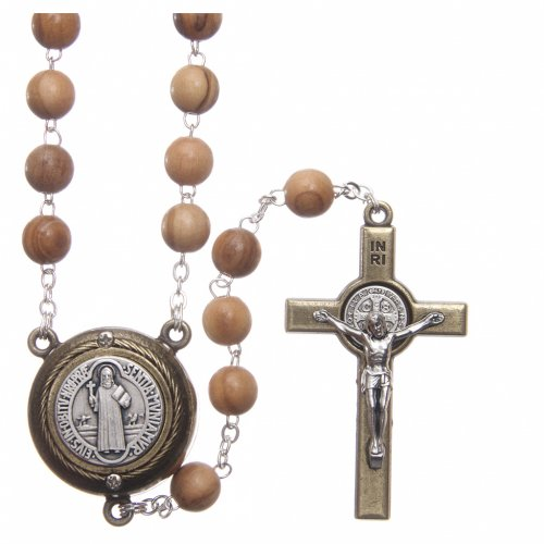 Rosary in light brown wood, talking center piece telling the prayer of Saint Benedict in ITALIAN 8 mm s1