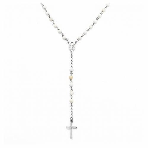 Rosary Necklace AMEN classic pearls, silver 925 Rhodium s1