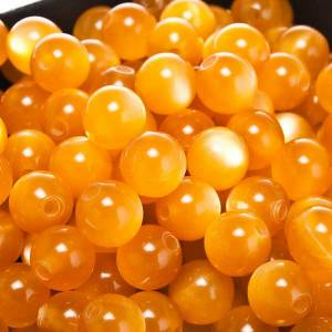 Rosary parts, round mother of pearl imitation yellow beads s1