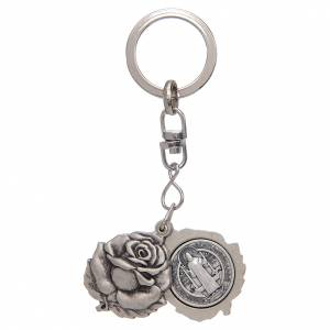Key Rings: Rose shaped, silver keyring with Saint Benedict medal