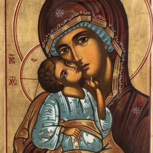 Russian hand-painted icons: Russian icon in glass, Madonna and Child