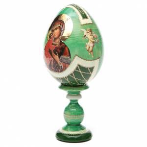 Handgemalte Russische Eier: Russische Ei-Ikone Gottesmutter Feodorov 20cm Decoupage grün
