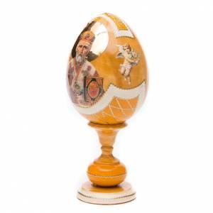 Handgemalte Russische Eier: Russische Ei-Ikone Hl. Nikolaus 20cm Decoupage gelb