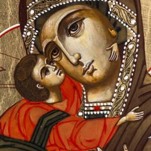 Russische Ikonen auf alter Tafel: Russische Ikone alte Tafel Gottesmutter Wladimir