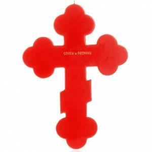 Kreuzikonen: Russische Ikone mit Dreipasskreuz rotfarbig