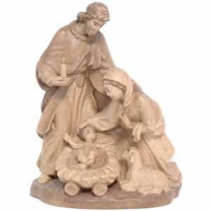 Natività: Sacra Famiglia con pecora legno Valgardena multipatinato