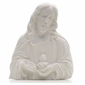 Funeral products: Sacred Heart of Jesus bas-relief made of reconstituted carrara