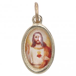 Sacred Heart of Jesus medal in golden metal and resin 1.5x1cm s1
