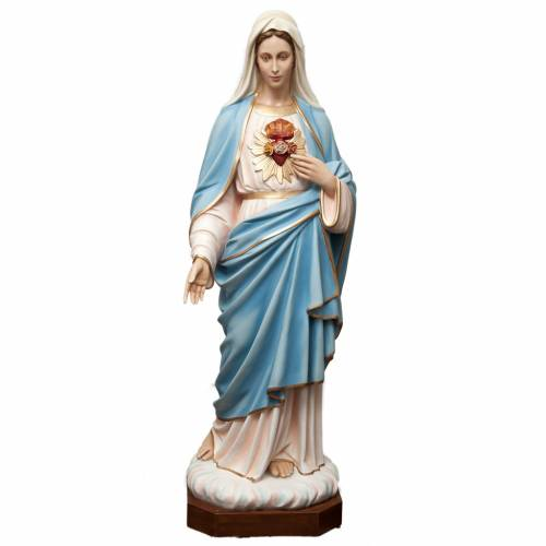 Sacred Heart of Mary statue in painted fiberglass 165cm s1