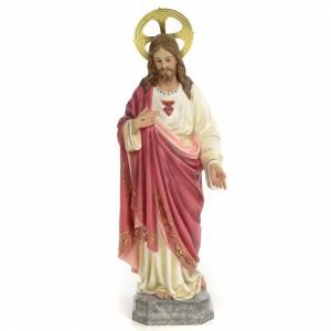 Sacro Cuore di Gesù 60 cm pasta di legno dec. elegante s1