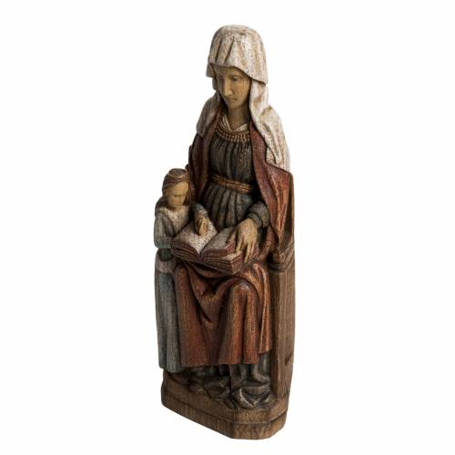 Saint Anne, young Virgin Mary statue in painted Bethléem wood, s3