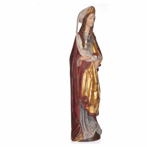 Saint Barbara with chalice in Valgardena wood, 56cm antique gold s3