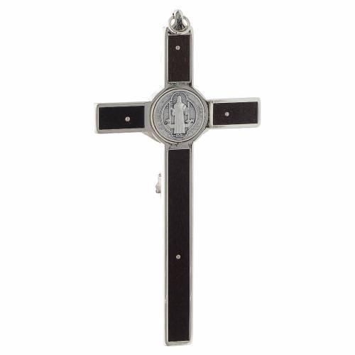 Saint Benedict inlayed wood cross s4
