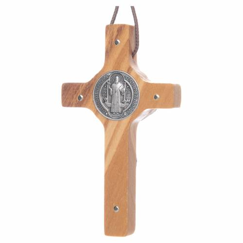 Saint Benedict olive wood cross pendant s2