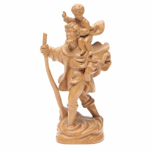 Saint Christophe avec enfant bois patiné Valgardena s2