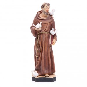 Holy Statues in resin & PVC: Saint Francis statue 30 cm in coloured resin