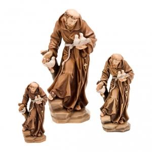Saint François d'Assise avec colombes, statue bois s2