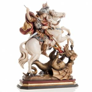 Saint George killing the dragon wooden statue painted s1