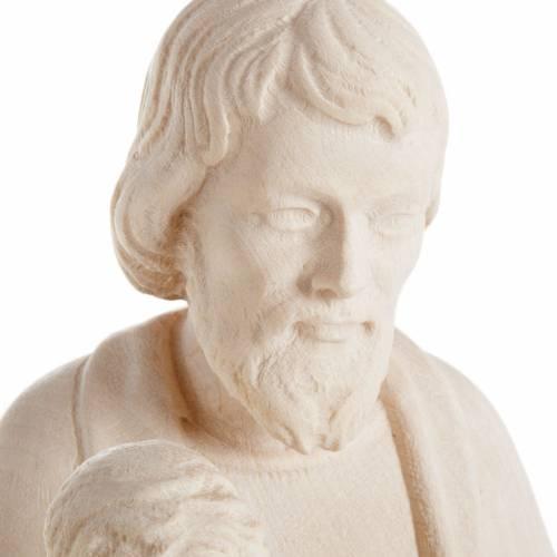 Saint Joseph à l'enfant et lilium, statue bois naturel s5
