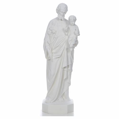Saint Joseph à l'enfant fibre de verre blanche 130cm s1