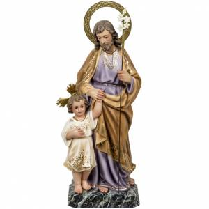 Hand painted wooden statues: Saint Joseph with baby statue 60cm in wood paste, elegant finish
