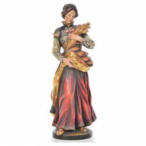 Saint Notburga with ears of wheat in Valgardena wood, antique go s1