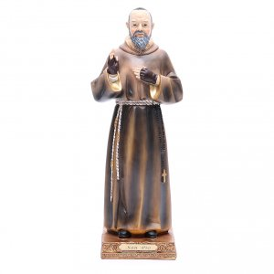 Holy Statues in resin & PVC: Saint Pio of Pietrelcina statue 32,5 cm in coloured resin