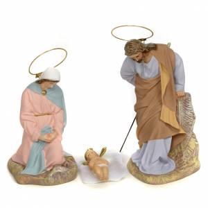 Sainte Famille 5 figurines pâte à bois 20 cm finition raffinée s2