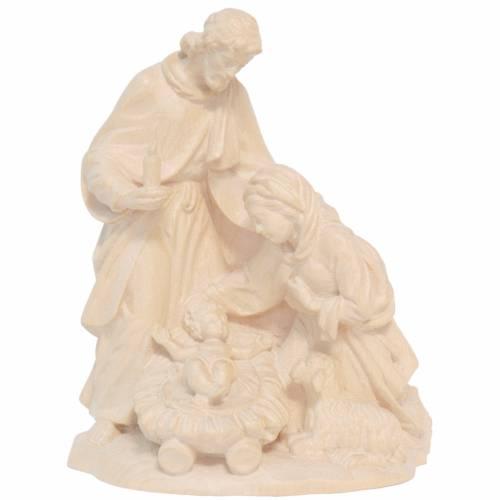 Sainte Famille avec mouton bois Valgardena naturel ciré s1