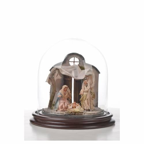Sainte Famille terre cuite style arable 20x20cm cloche verre s4