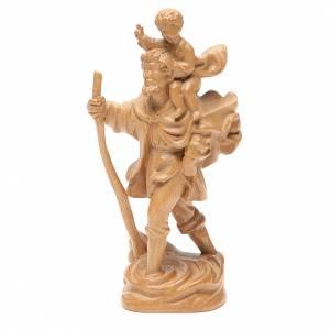 San Cristoforo con bimbo legno Valgardena patinato s2