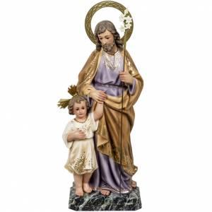 San Giuseppe con bimbo 60 cm pasta legno fin. elegante s1