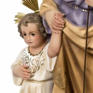 San Giuseppe con bimbo 60 cm pasta legno fin. elegante s9