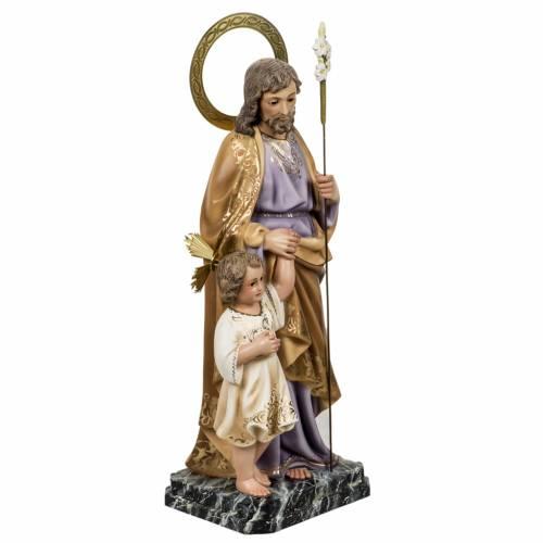 San Giuseppe con bimbo 60 cm pasta legno fin. elegante s5