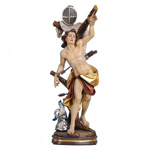 Statua San Sebastiano colorato Val Gardena s1