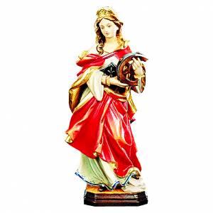 Santa Caterina in legno colorato veste rossa s1