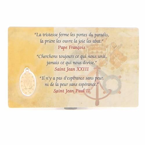 Santino plastificato 3 Papi e Med. Miracolosa FRANCESE s2