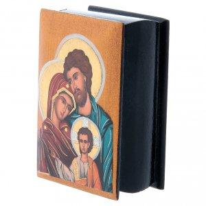 Scatola cartapesta russa Sacra Famiglia 7X5 cm s2