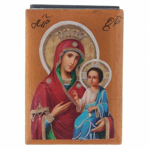 Scatola russa cartapesta Madonna Iverskaya 7X5 cm s1