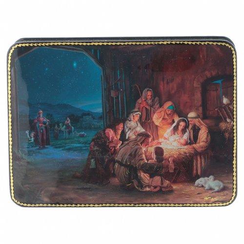 Scatola russa cartapesta Nascita Cristo e Adorazione Fedoskino style 15x11 s1