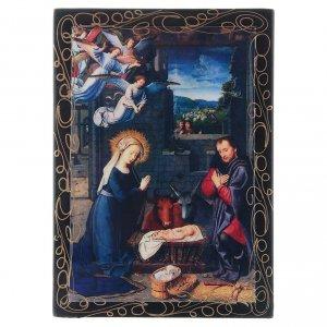 Scatoletta russa papier machè decoupage La Nascita di Gesù Cristo 14X10 cm s1