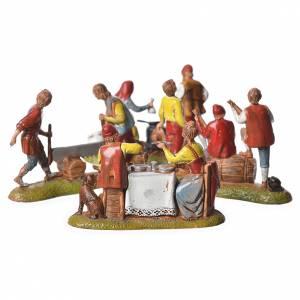 Scene with 4 nativity figurines, 6cm Moranduzzo s6